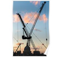 Cranes Over St Paul's Cathedral, London Poster