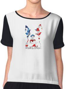 Boston Terrier Dog Bless America Chiffon Top