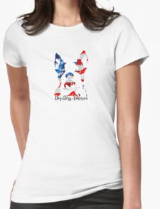 Boston Terrier Dog Bless America Womens Fitted T-Shirt