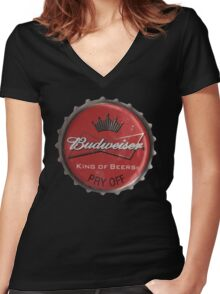 BUDWEISER BOTTLE CAP Women's Fitted V-Neck T-Shirt