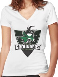 Polis Academy Grounders Shield Women's Fitted V-Neck T-Shirt