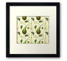 Watercolor pattern with pears Conference.  Framed Print