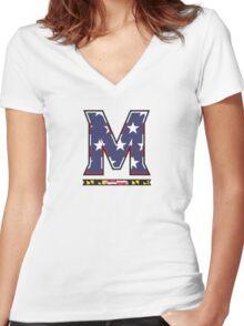 American Flag UMD M Logo Women's Fitted V-Neck T-Shirt