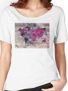 world map watercolor 7 Women's Relaxed Fit T-Shirt