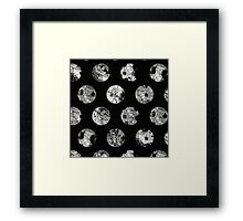 Lunar Pattern - Abstract Black And White Moon Pattern Framed Print