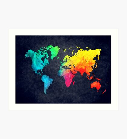 world map watercolor 6 Art Print