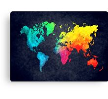 world map watercolor 6 Canvas Print