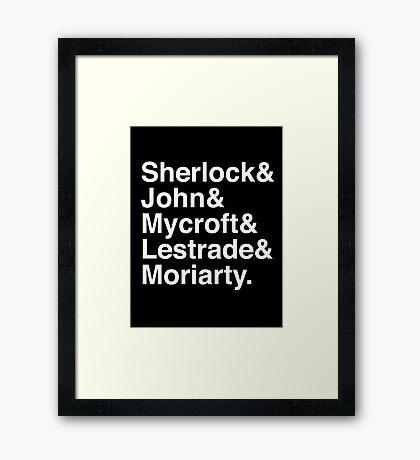 Sherlock & John & Mycroft & Lestrade & Moriarty. (Sherlock) (Inverse) Framed Print