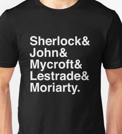 Sherlock & John & Mycroft & Lestrade & Moriarty. (Sherlock) (Inverse) Unisex T-Shirt