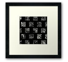 Lunar Squares - Abstract Black And White Square Pattern Framed Print