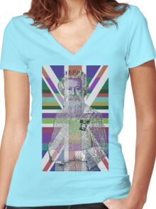 God Shave the Queen! Women's Fitted V-Neck T-Shirt