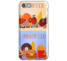 Healthy Food and Unhealthy Fast Food. Fruits and Vegetables or Fast Food and Sweets iPhone Case/Skin