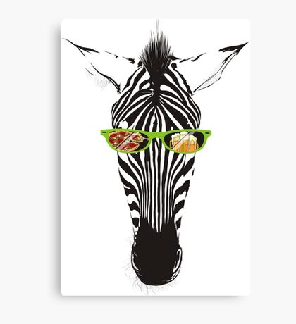 Funny animal zebra sunglasses pizza beer Canvas Print
