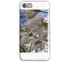 Windblown white Magnolia blossoms iPhone Case/Skin