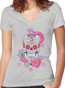 Life is strange Max skull, transparent Women's Fitted V-Neck T-Shirt