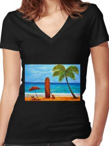 Umbrella Day (A.k.a. Maui Beach Day) Women's Fitted V-Neck T-Shirt
