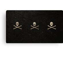 Tri Skull & Crossbones - Black Canvas Print