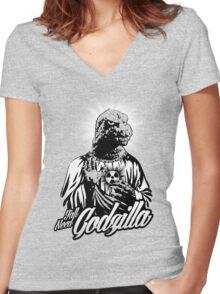 GODzilla is my savior. Women's Fitted V-Neck T-Shirt