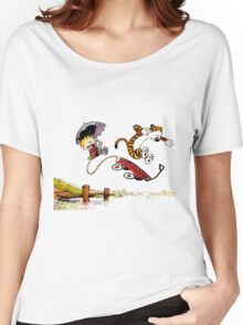 Calvin And Hobbes Jumping Women's Relaxed Fit T-Shirt