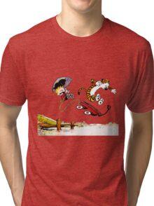 Calvin And Hobbes Jumping Tri-blend T-Shirt
