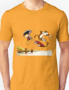 Calvin And Hobbes Jumping Unisex T-Shirt