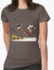 Calvin And Hobbes Jumping Womens Fitted T-Shirt