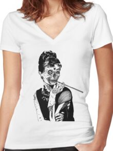 zombies audrey hepburn evil dead zombie Women's Fitted V-Neck T-Shirt