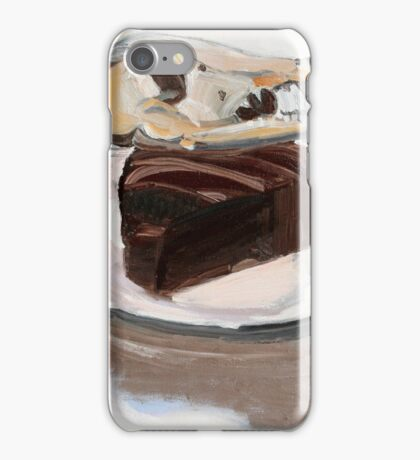 Dog on chocolate cake.     iPhone Case/Skin