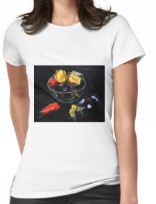 beautiful vegetables on black     Womens Fitted T-Shirt
