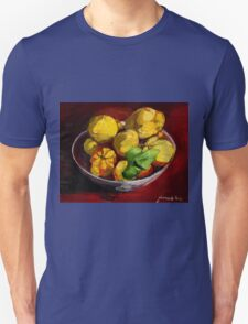 Quinces in glass bowl on red background T-Shirt