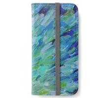 SEA SCALES - Beautiful BC Ocean Theme Peacock Feathers Mermaid Fins Waves Blue Teal Abstract iPhone Wallet/Case/Skin
