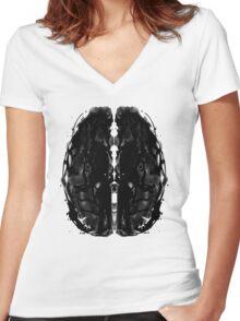 Inkblot Brain Women's Fitted V-Neck T-Shirt