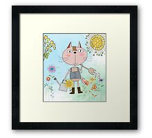 Cartoon Pets Flower Gardening Cat Framed Print