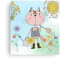 Cartoon Pets Flower Gardening Cat Canvas Print