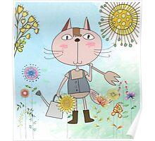 Cartoon Pets Flower Gardening Cat Poster