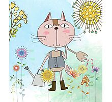 Cartoon Pets Flower Gardening Cat Photographic Print