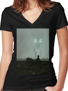 He who hunts alone Women's Fitted V-Neck T-Shirt