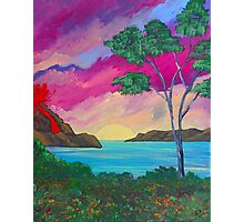 Ocean painting with volcano Photographic Print