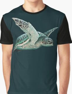 """Moonlit"" - Green Sea Turtle, Acrylic Graphic T-Shirt"