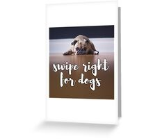 Swipe Right for Dogs Greeting Card