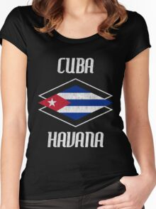 Retro Cuba Havana  Women's Fitted Scoop T-Shirt