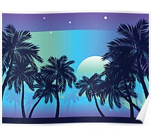 Palm Tree at Night 2 Poster