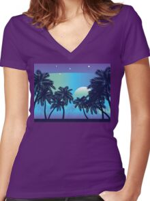 Palm Tree at Night 2 Women's Fitted V-Neck T-Shirt