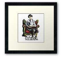 levi from attack on titan throne design Framed Print
