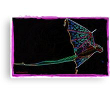 Flying Dragon Kite on Black Canvas Print