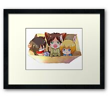 attack on titan chibi design of eren mikasa and armin Framed Print