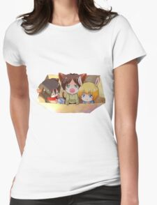attack on titan chibi design of eren mikasa and armin Womens Fitted T-Shirt