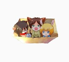 attack on titan chibi design of eren mikasa and armin Unisex T-Shirt