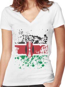 Kenya Flag Ink Splatter Women's Fitted V-Neck T-Shirt