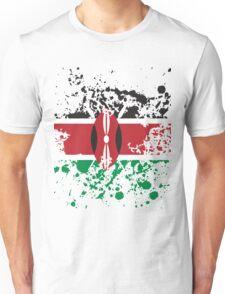 Kenya Flag Ink Splatter Unisex T-Shirt